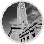 Memorial Tower - Lsu Bw Round Beach Towel