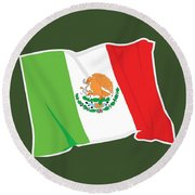 Mexico Flag Round Beach Towel