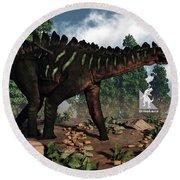 Miragaia Dinosaur - 3d Render Round Beach Towel