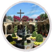 Mission Inn Chapel Courtyard Round Beach Towel