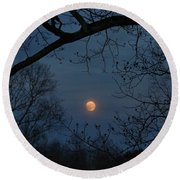 Misty Moonrise Round Beach Towel