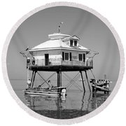 Mobile Bay Lighthouse Round Beach Towel