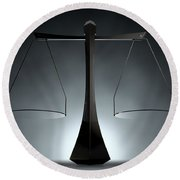 Modern Scales Of Justice Round Beach Towel