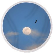 2- Moon Bird Round Beach Towel