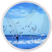 Morning Sunrise Over Ocean Waters Round Beach Towel