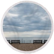 Morning View From Kingsdown Round Beach Towel