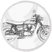 Motorcycle Art, Black And White Round Beach Towel