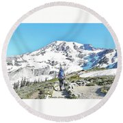 Mount Rainier National Park Round Beach Towel