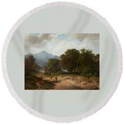 Mountainous Landscape With Shepherds Round Beach Towel