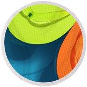 Multicolored Flip Flops Floating In Pool Round Beach Towel