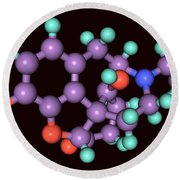 Naloxone, Molecular Model Round Beach Towel