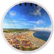 Nazare Portugal Skyline Round Beach Towel