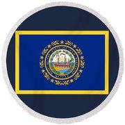 New Hampshire Flag Round Beach Towel