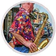New Orleans Jazz Sax  Round Beach Towel