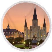 New Orleans St Louis Cathedral Round Beach Towel