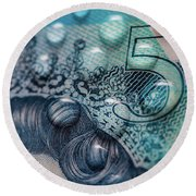 New Uk Five Pound Note Round Beach Towel