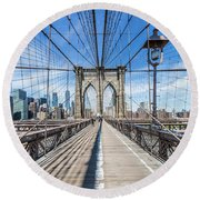 New York City Brooklyn Bridge Round Beach Towel