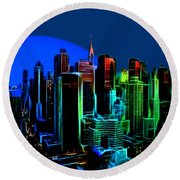New York Colors Round Beach Towel