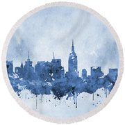 New York Skyline-blue Round Beach Towel