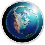 North America 3d Render Planet Earth Dark Space Round Beach Towel