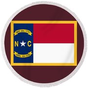 North Carolina Flag. Round Beach Towel