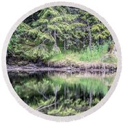 Northern Landscape And Nature In Alaska Panhandle Round Beach Towel