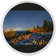 Northern Lights At Mount Pilchuck Round Beach Towel