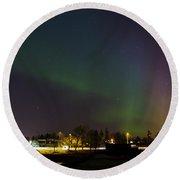Northern Lights Aurora Borealis In Northern Europe Round Beach Towel