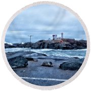 Nubble Light Lighthouse Round Beach Towel