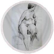 Nude Study Round Beach Towel