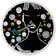 Nuer Lady With Pipe - South Sudan Round Beach Towel