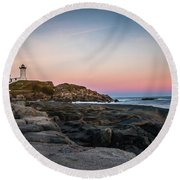 Ocean Lighthouse At Sunset Round Beach Towel