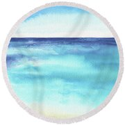 Ocean Watercolor Hand Painting Illustration. Round Beach Towel
