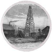 Oil Well, 19th Century Round Beach Towel