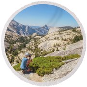 Olmsted Point Shooting Round Beach Towel