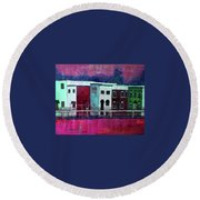 On The Banks Of The Grand River Round Beach Towel