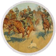 On The Southern Plains Round Beach Towel