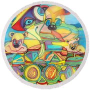 One Day On The Lake Round Beach Towel
