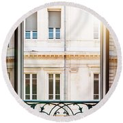Open Window In Toulouse Round Beach Towel