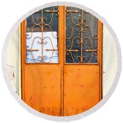 Orange Door Round Beach Towel