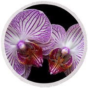 2 Orchids Round Beach Towel