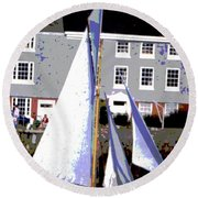 Oyster Boats Round Beach Towel