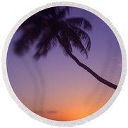Palm Over The Beach Round Beach Towel