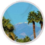 Palm Springs Mountains Round Beach Towel