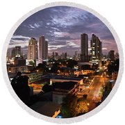 Panama City At Night Round Beach Towel