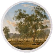 Patterdale Landscape With Cattle Round Beach Towel
