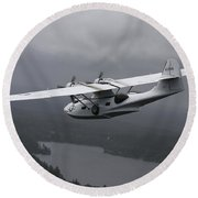 Pby Catalina Vintage Flying Boat Round Beach Towel by Daniel Karlsson