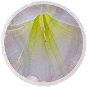 Peach Angel's Trumpet At Pilgrim Place In Claremont-california  Round Beach Towel