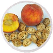 Peaches And Pits Round Beach Towel