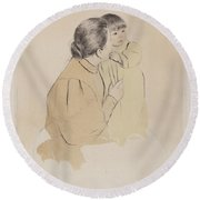 Peasant Mother And Child Round Beach Towel